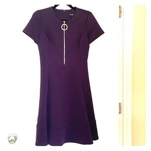 DKNY. A-line dress. Dark purple. Knee length. 4.